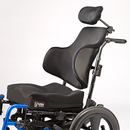 Ride Custom AccuSoft cushion shown on wheelchair