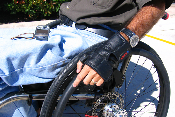 ADI wheelchair gloves in use